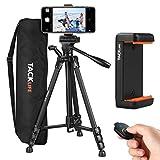 Tripod 60-Inch, Lightweight Aluminum Camera/Phone Tripod with Bluetooth &...