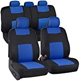 BDK PolyPro Car Seat Covers Full Set in Blue on Black – Front and Rear...