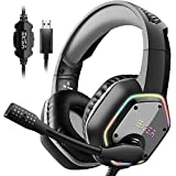 EKSA E1000 USB Gaming Headset for PC - Computer Headphones with...