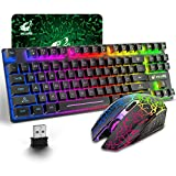 Wireless Gaming Keyboard and Mouse Combo with 87 Key Rainbow LED Backlight...