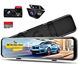 PORMIDO 12 inch Mirror Dash Cam with Detached Front Camera,Anti Glare Touch...