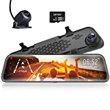 "WOLFBOX 12"" Mirror Dash Cam Backup Camera,1296P Full HD Smart Rearview..."