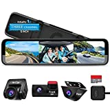 PORMIDO Triple Mirror Dash Cam 12' with Detached Front and in-Car...